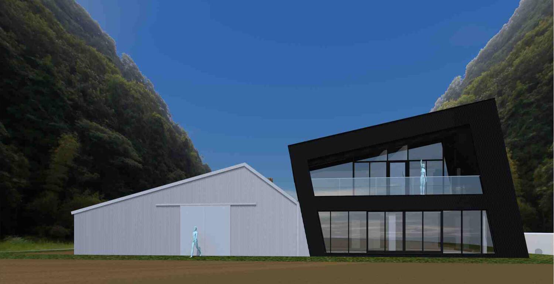 初回提案パース(建物のシルエットは馬の頭をイメージ)
